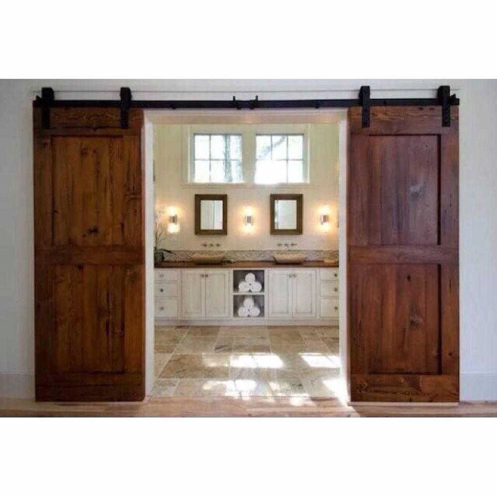 2017 12ft antique black wooden double sliding barn closet for Decoration porte de grange