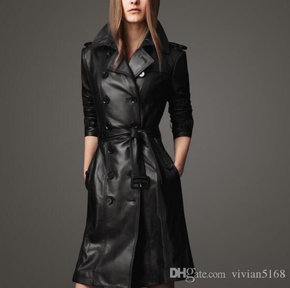 2017 Fashion Lady Leather Trench Coat Women'S Motorcycle Pu