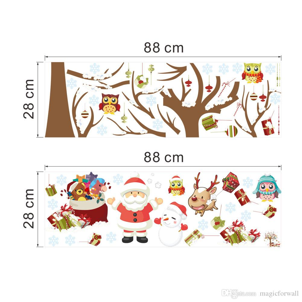 Owls Christmas Tree Wall Art Murals Sticker Festival Home Decor Wallpaper  Poster Christmas Gift On The Tree Wall Art Decal Owls Christmas Tree Wall  Art ... Part 74