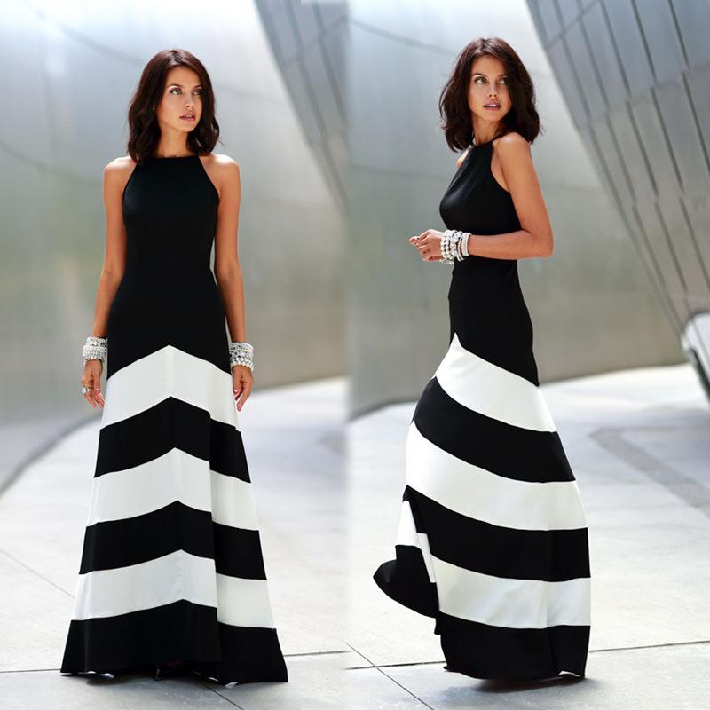 Black White Striped Splice Sexy Long Dress Women's Backless ...