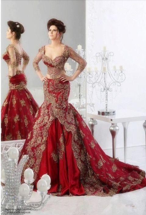 Elegant Dark Red Evening Dresses Sweetheart Ball Gowns Long Sleeve ...