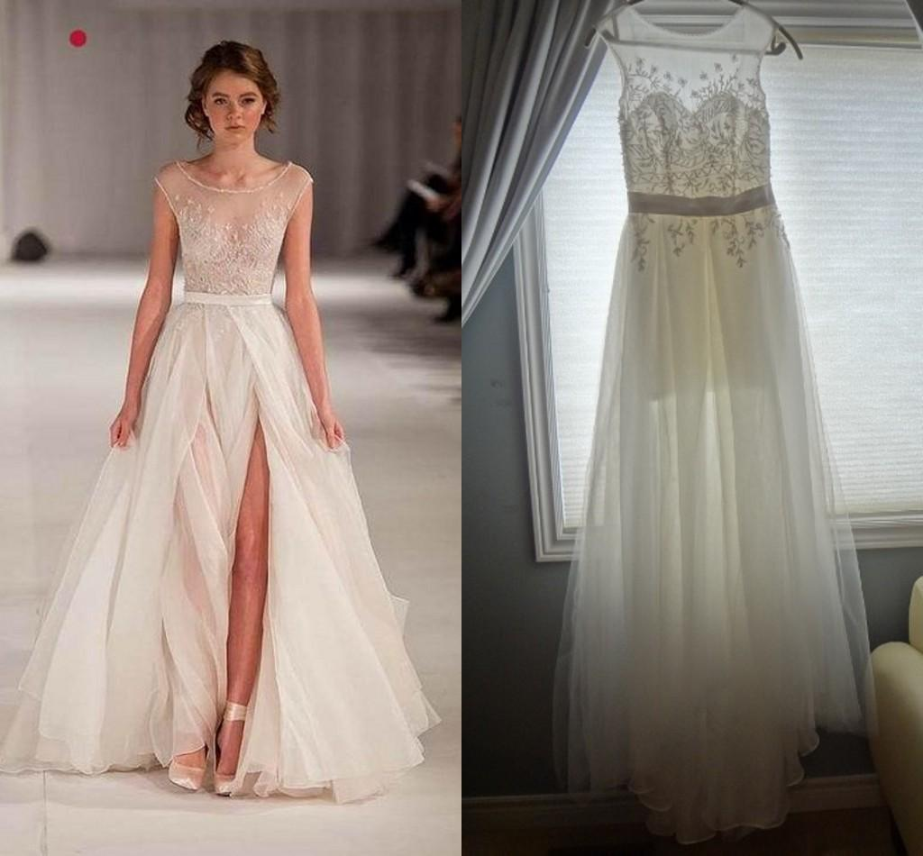 Discount A Line Sheer Wedding Dresses 100 Real Image Short Sleeve Tulle Sash