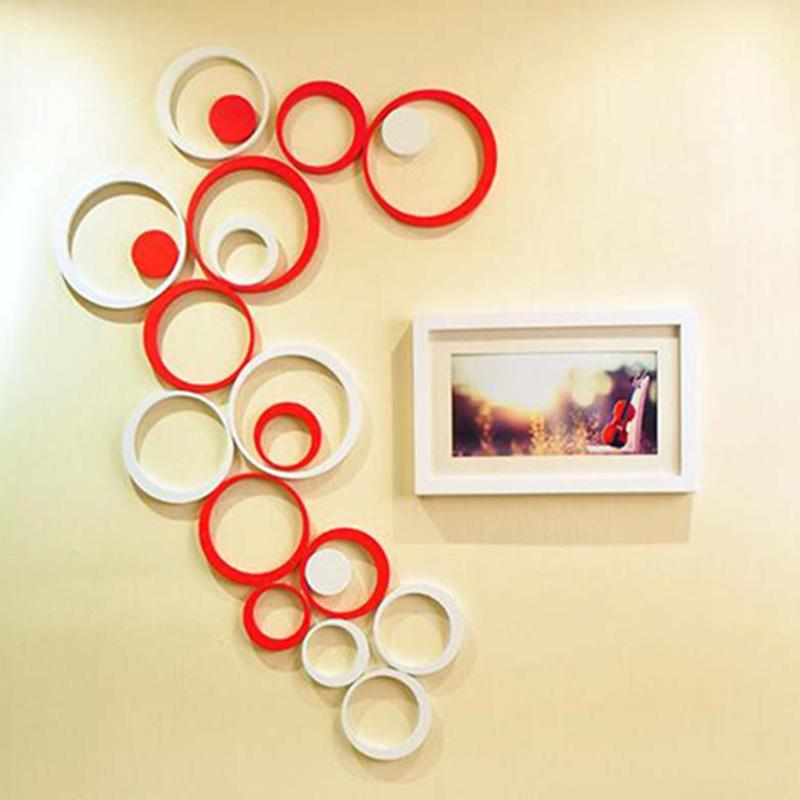 1 Set 5 Pcs 3d Diy Wooden Circle Wall Poster Sticker Decals Home Decor Stickers