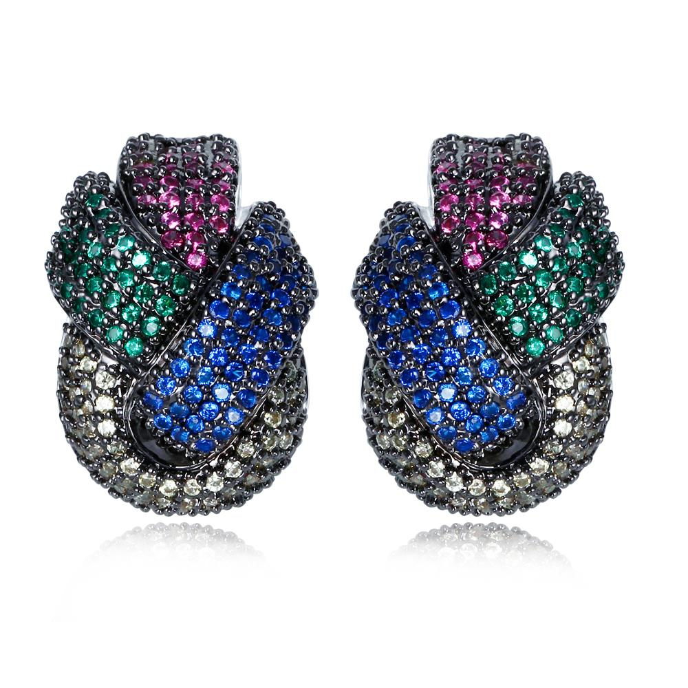 2017 Jewelry Earrings Micro Pave With Multi Color Sapphire Cubic