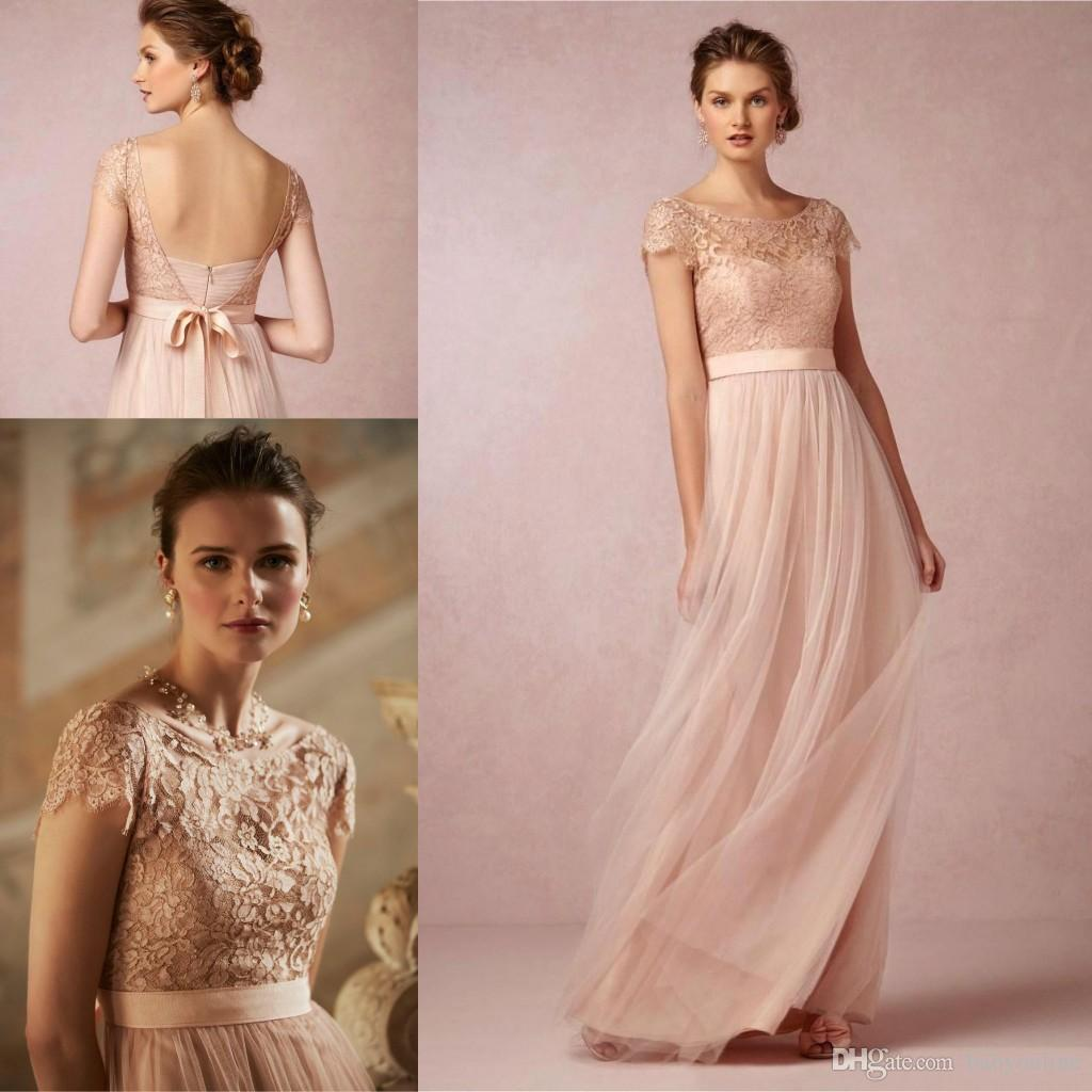 2017 cheap brush cap sleeves long bridesmaid dresses vintage sheer 2017 cheap brush cap sleeves long bridesmaid dresses vintage sheer lace backless evening gowns maid of honor wedding party prom dress cps221 bridesmaid ombrellifo Image collections