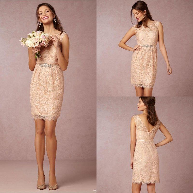 Hot sale 2015 short lace bridesmaid dresses blush crew for Blush wedding dress for sale