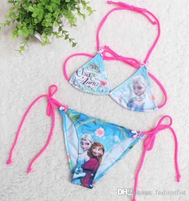Factory Price ! Frozen Swimsuit Swimwear Princess Elsa Anna Baby Girls Bikini Set Kids Children Bathing Suit Beach Wear Two style Hot Sale