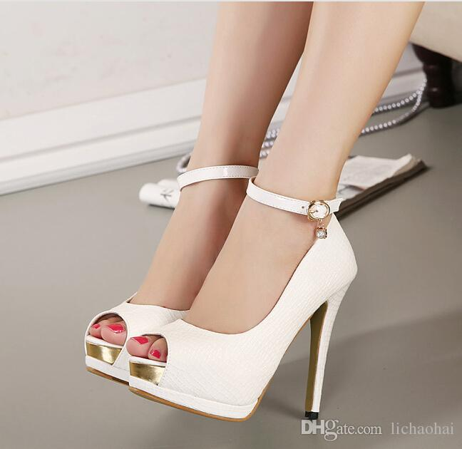 Hot! Elegant Ankle Strap White Heels Bridal Pumps Shoes Women High ...
