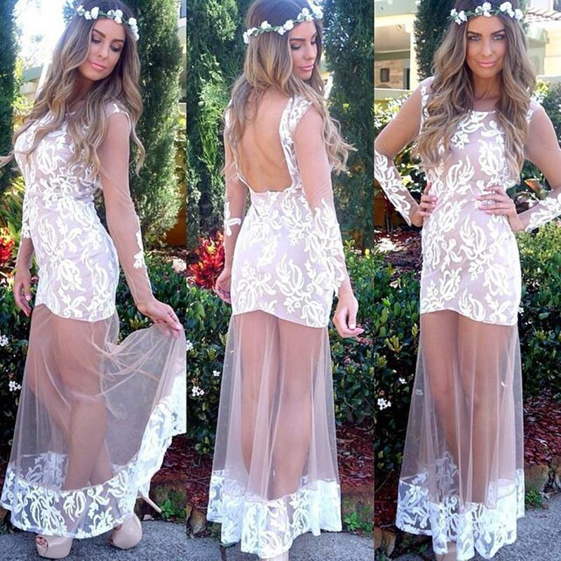 2015 Wedding Prom Club Party Dress Lace Voile Patchwork See ...