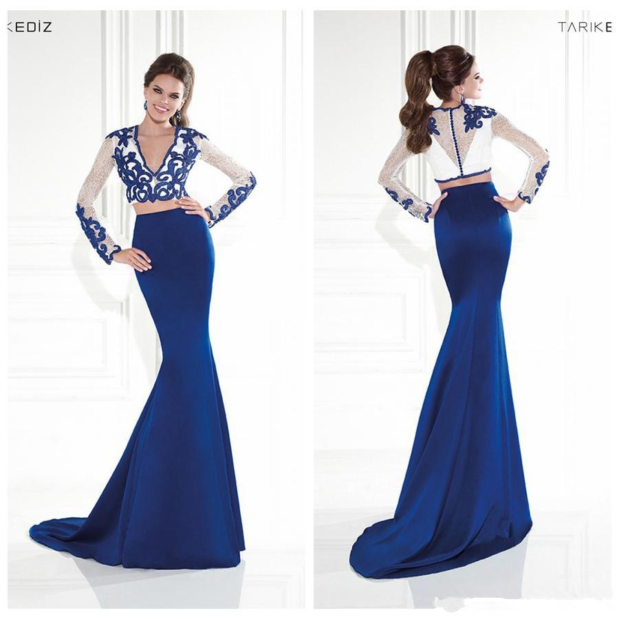 Blue Mermaid Evening Dresses Long Sleeve Two Piece Lace Bolero ...