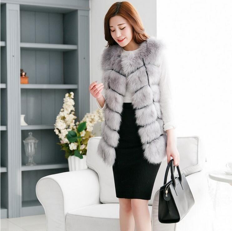 2017 2016 Winter Women Plus Size Faux Fur Coat Fashion Long Mink