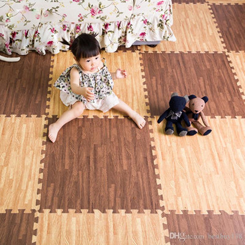 Living Room Baby Climbing Soundproofing Foam Children Waterproof Imitation Wood Puzzle Mat Kids Carpet Mosaic 6060 With Edges Floor Mats