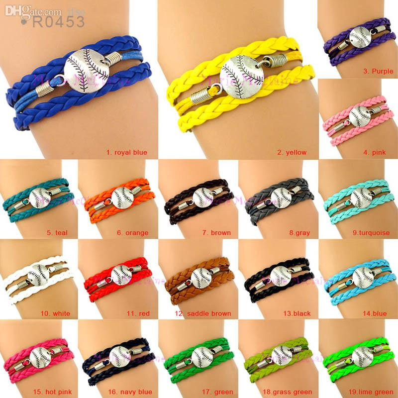 Gros- (20 Pieces / Lot) Baseball Bracelet Softball Baseball Bracelet équipe Soft