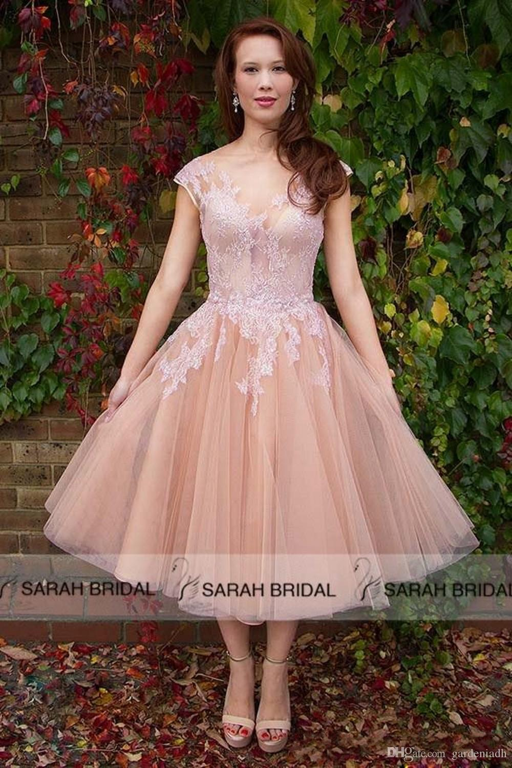 Discount 2015 Peach Pink Short Wedding Dresses Lace Tulle