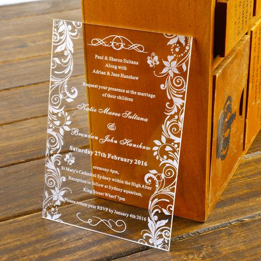 30Personalised Engraved Butterflies Lace Acrylic Wedding – Luxury Party Invitations