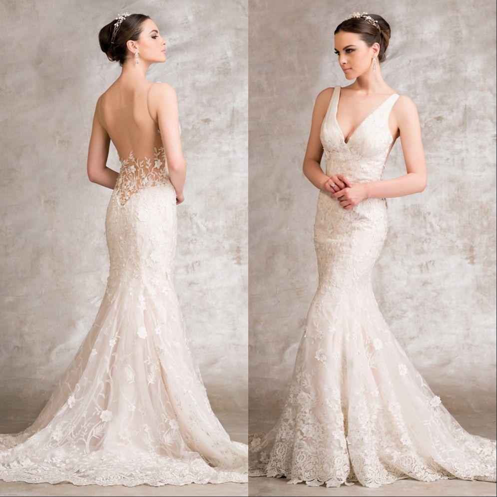 V Line Mermaid Wedding Dress : Mermaid wedding dresses vintage a line v neck backless lace