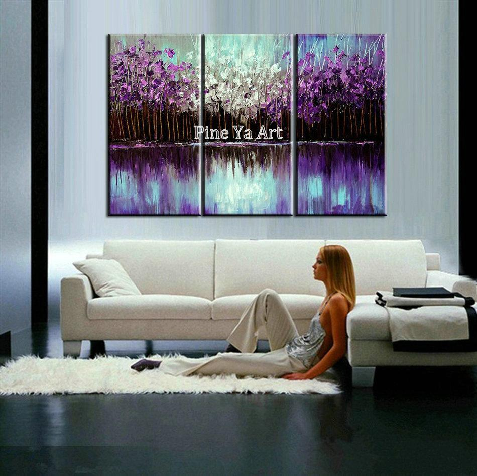 Best quality modern canvas wall art triptych acrylic purple ...