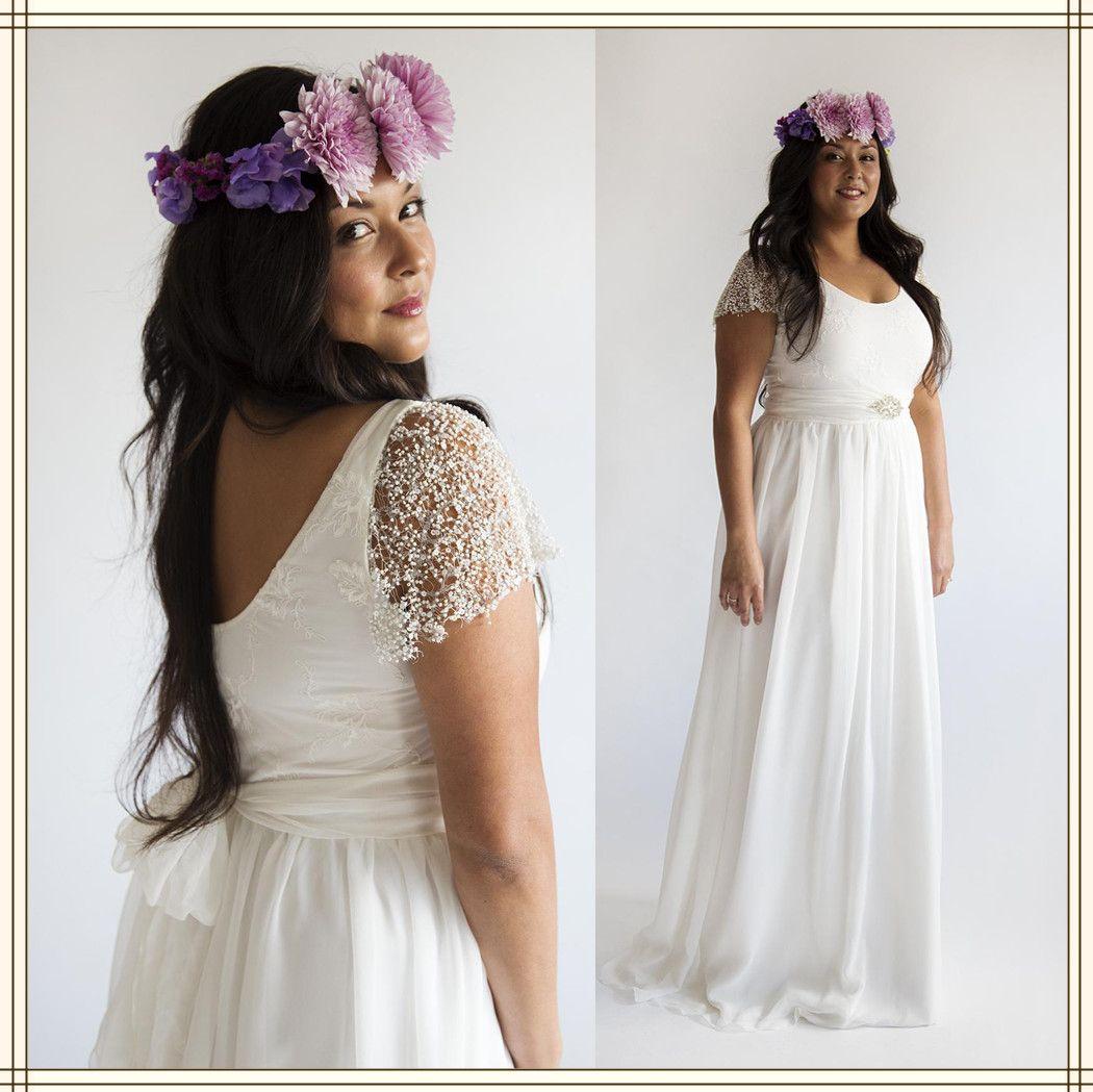 Discount vestido de noiva 2015 plus size wedding dress for Simple cream wedding dresses