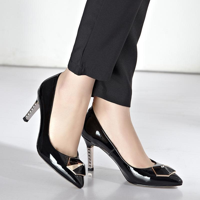 2015 New Arrival Metal High Heel Fshion Genuine Leather Pumps Women