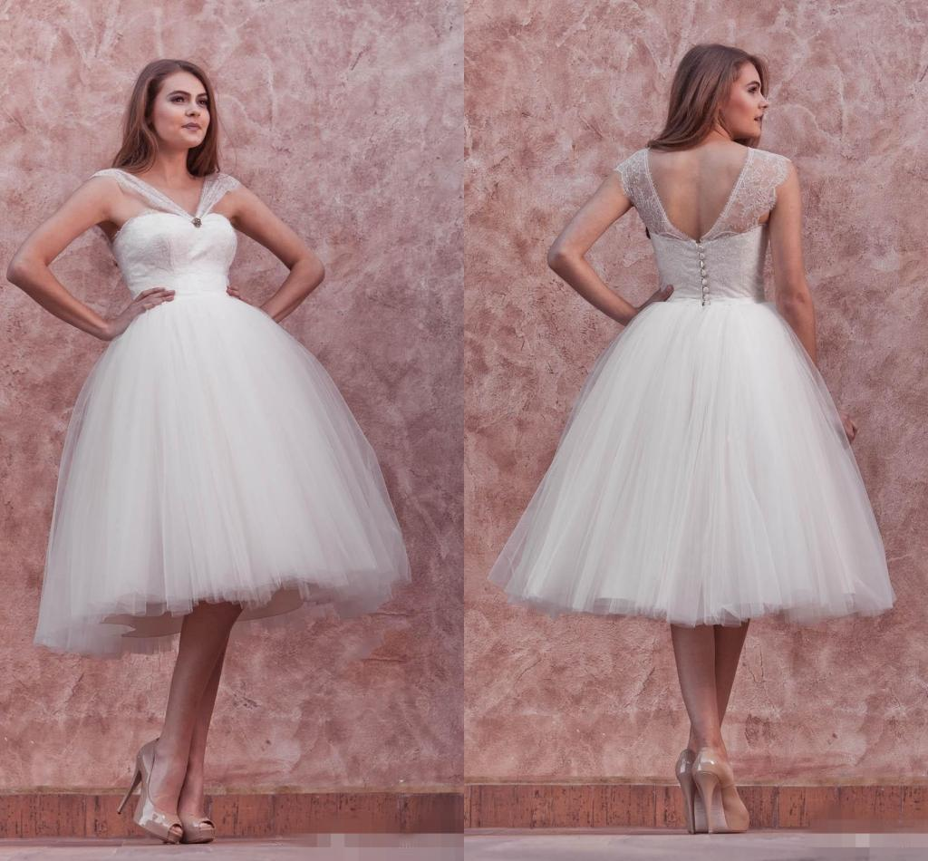 Ball Gown Short Wedding Dresses 2016 See Through Princess