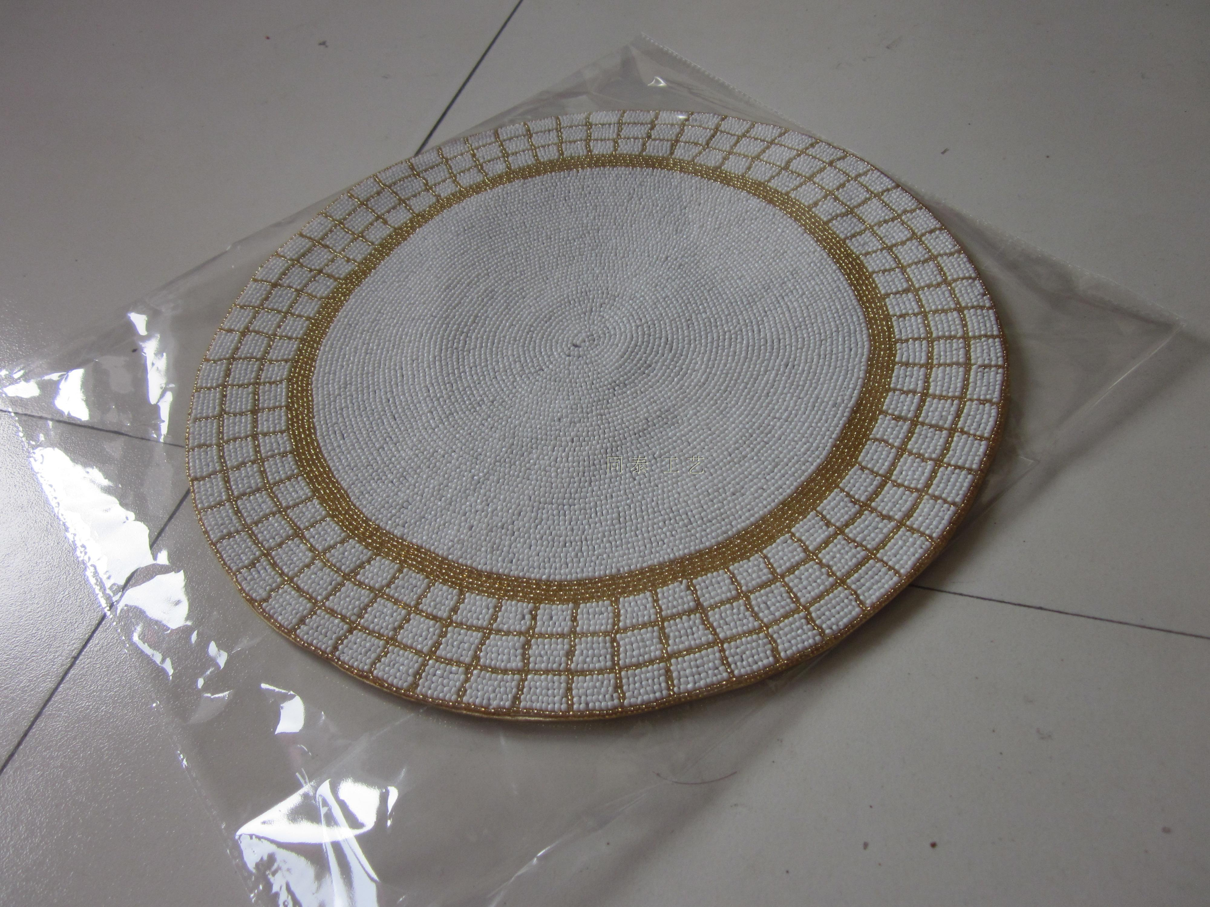 Round Gold And White Handmade Beaded Placemat Set Glass
