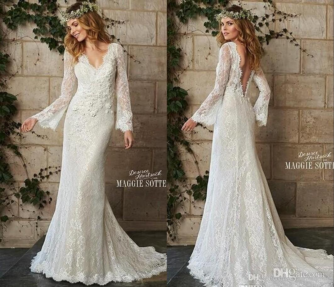 Discount A Line Bohemian Style Wedding Dresses Vintage Lace Long Sleeves V Neck Backless Bridal
