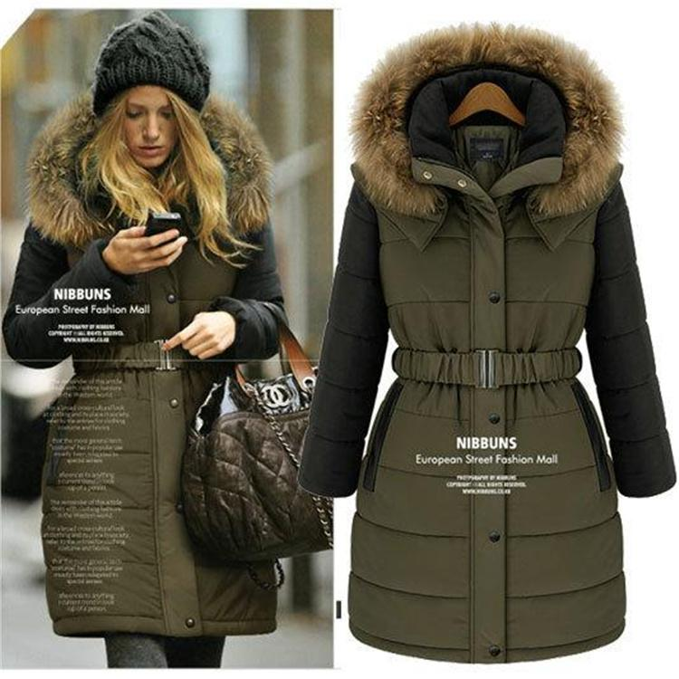 Korean Style Womens Down Coat Womens Winter Hooded Coat High