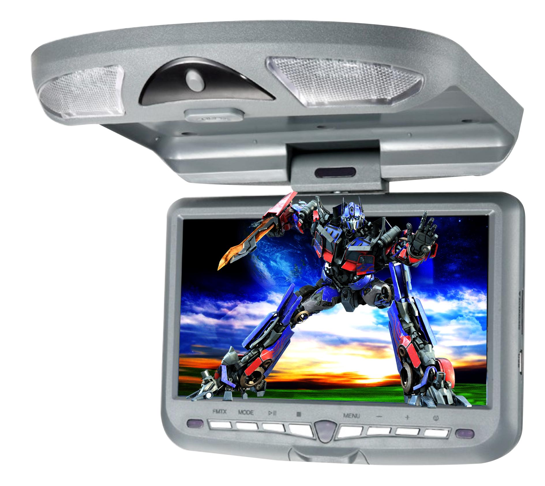 free shipping universal 9 inch roof mount car dvd player with wireless irfm transmit