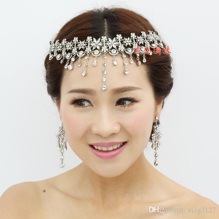 cheap wedding bridal silver gold red hair accessories crystal rhinestone tassel flowers pieces headband tiara necklace earrings jewelry set bridal hair