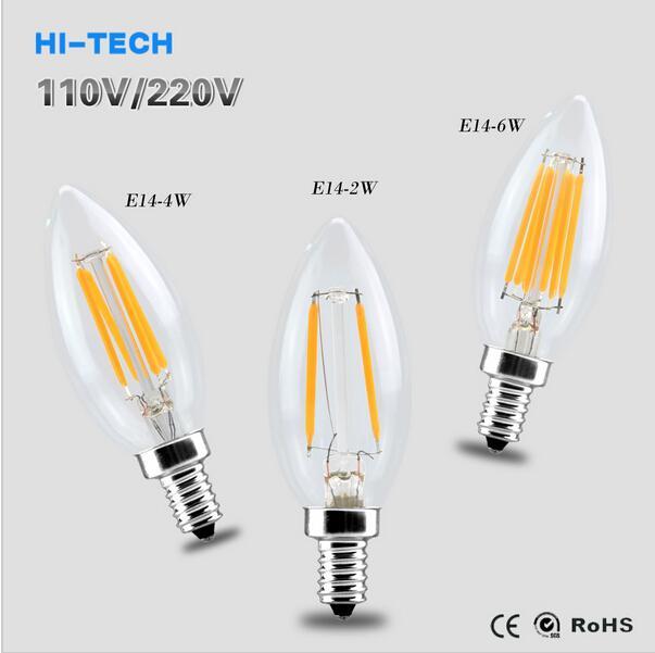 ceramics substrate dimmable led bulb candle light e14 2w 4w 6w led filament edison bulb 110v. Black Bedroom Furniture Sets. Home Design Ideas
