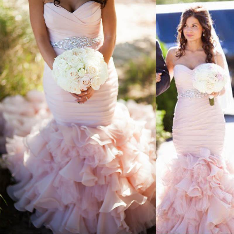 Blush Low Back Wedding Dress : Real image blush pink mermaid wedding dresses high