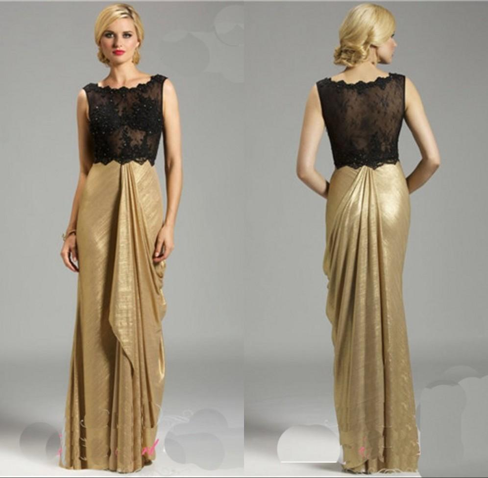 Sexy Sheer Bust Gold Skirt Long Evening Dresses Crew Neck Top Lace Taffeta Ruched Full Length ...