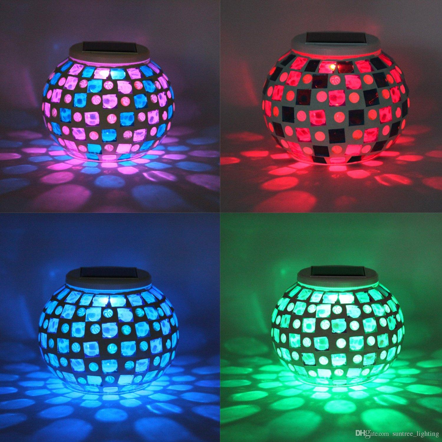2017 Solar Powered Mosaic Glass Ball Garden Lights Color Changing