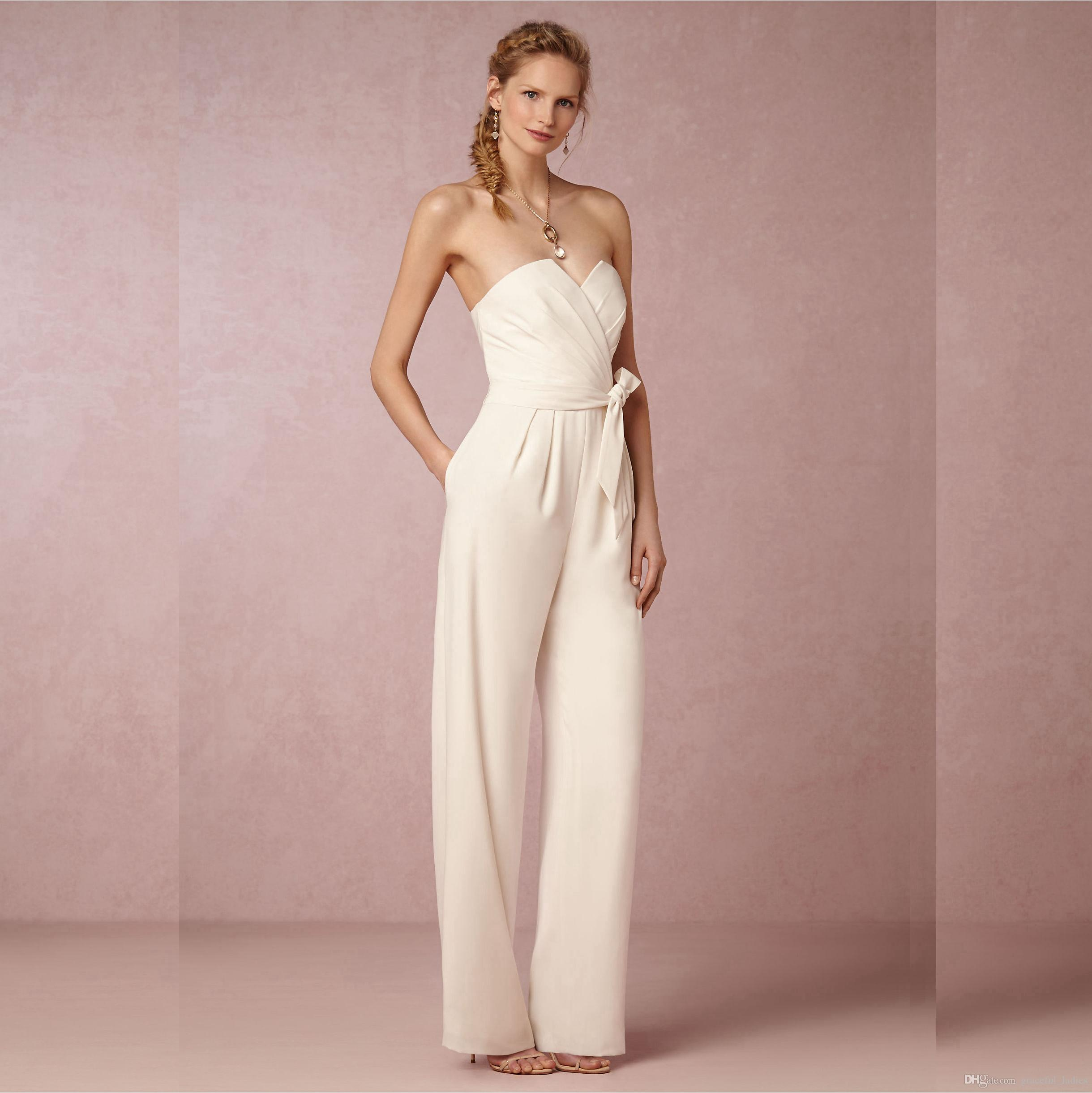 Ivory chiffon wedding pant suits for brides sweetheart for Wedding dress pant suits