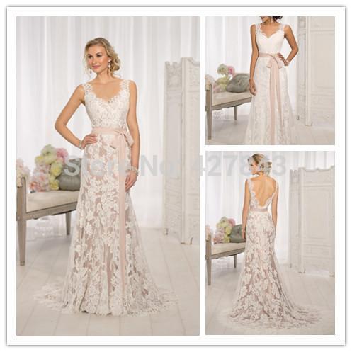 2015 Vintage Lace Overlay Low Back Bride Wedding Dress Slim Fit ...