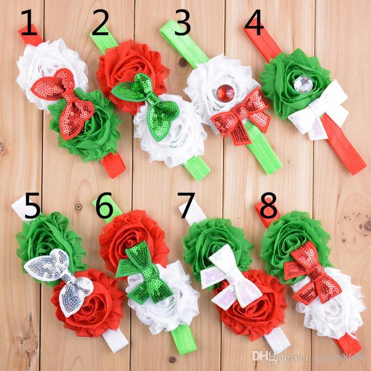 christmas children hair accessories kids flower hair bands sequin