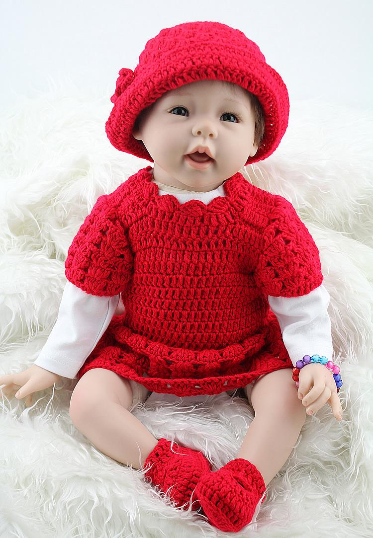 22 55cm Silicone Reborn Baby Dolls For Sale Real Cute Girl