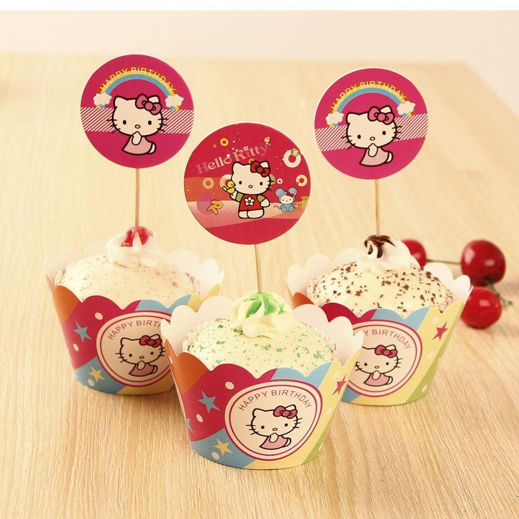 Hello Kitty Cute Cupcake Wrappers Cases Decoration ...