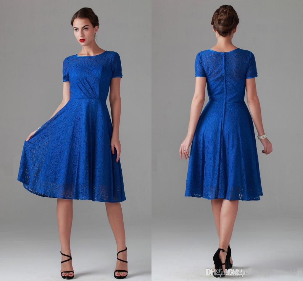 Blue Lace Maid Honor Dresses Plus Size Short Sleeves
