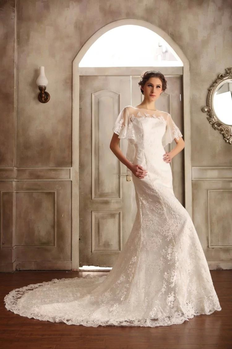 Slim fitted butterfly sleeves wedding dress illusion back for Butterfly back wedding dress