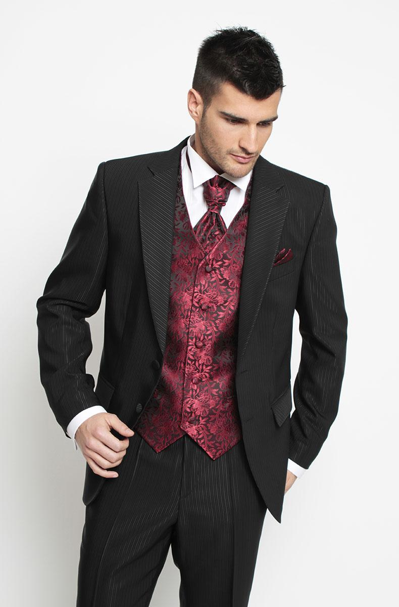 2015 Sfani Handsome Custom Made Black Red Print Two Buttons Formal Groom Tuxedos Mens Wear