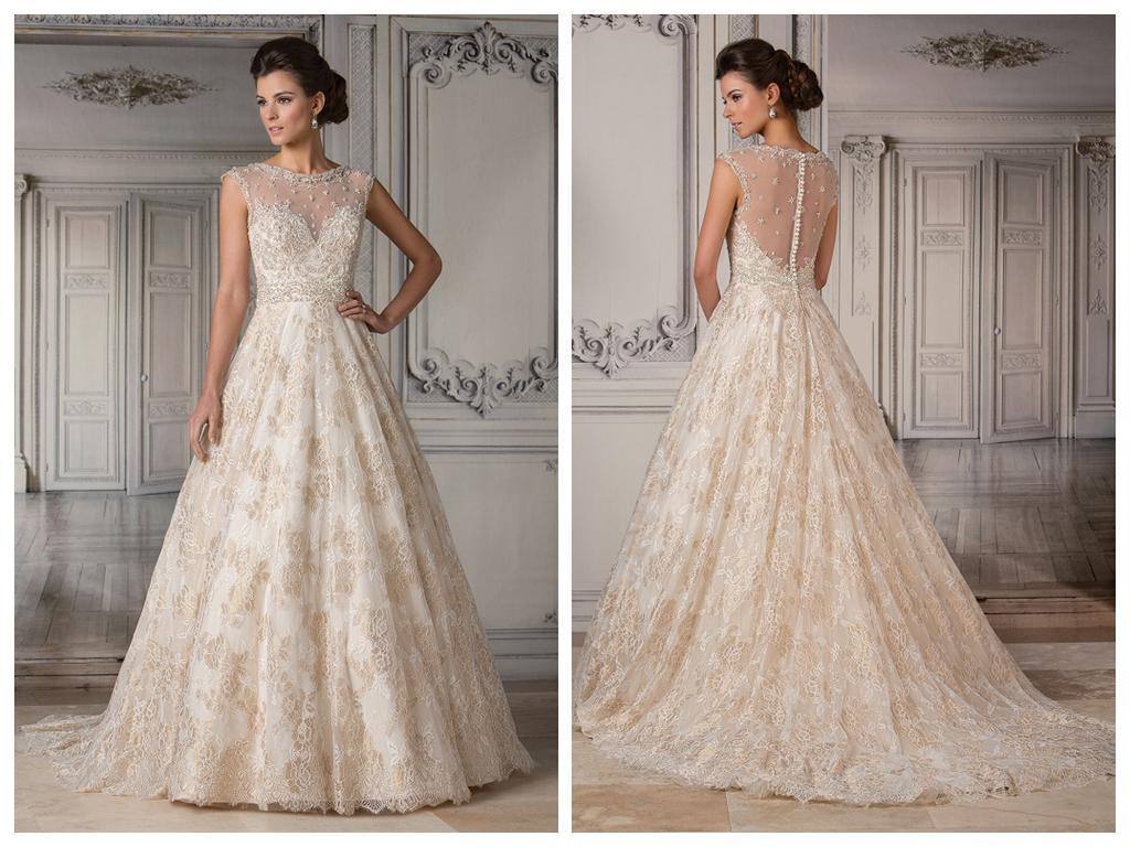 Gold ball gown wedding dresses 2015 sheer scoop neckline for Gold beaded wedding dress