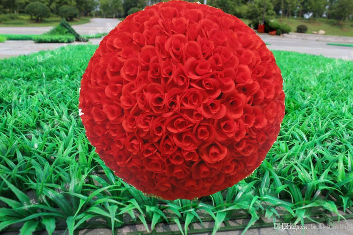 Silk christmas ornaments - 2015 New 40cm Artificial Encryption Rose Silk Flower Kissing Balls Large Hanging Ball Christmas Ornaments Wedding
