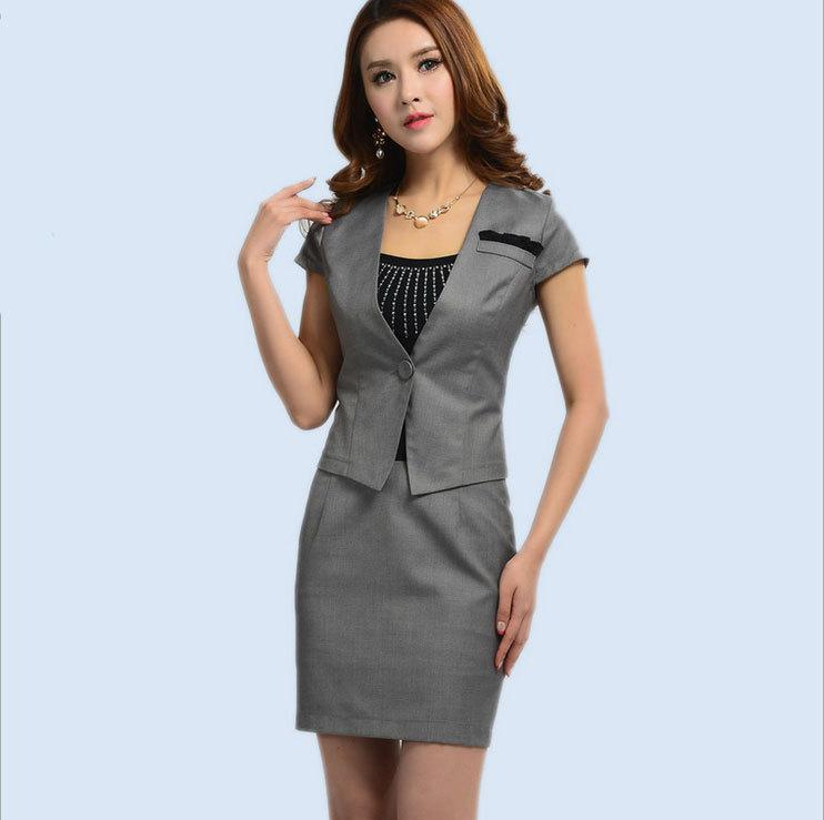 2017 Summer Office Uniform Design For Ladies Grey Skirt Suit New ...