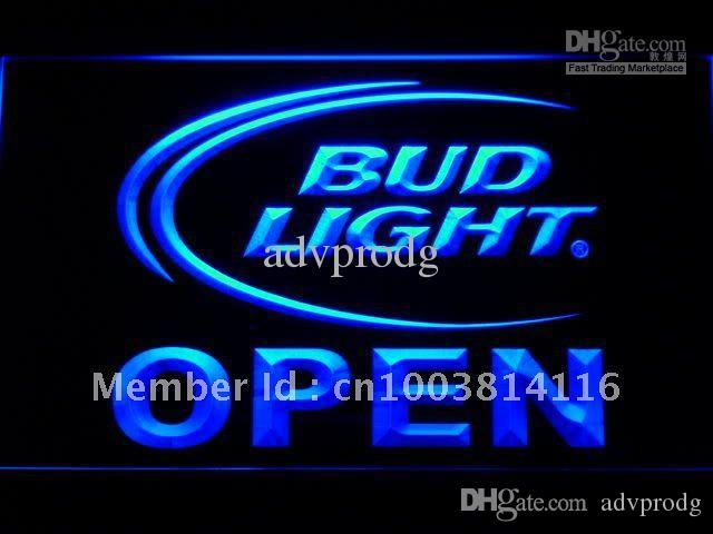 025-b Bud Light Beer Open Bar Neon Light Sign