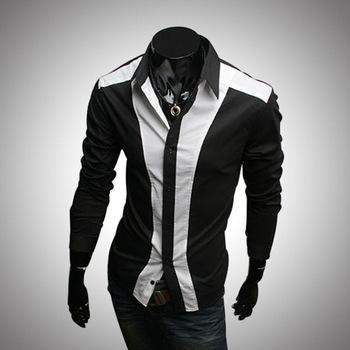 Men Shirt 2016 New Brand Patchwork Camisa Social Masculina Fashion ...