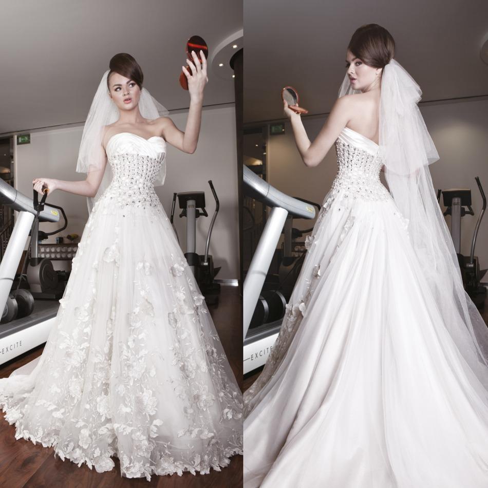 Modern Wedding Dresses Backless : Modern a line backless wedding dresses crystals appliques