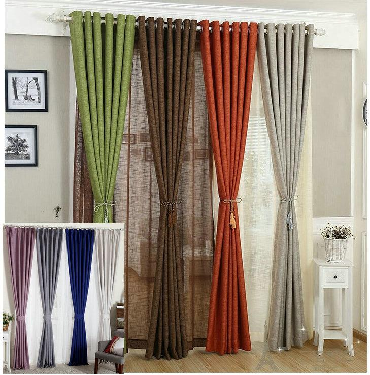Linen Curtains For Living Room/Tulle+Cloth Curtain White Red Orange Green  Solid Rustic Eco Friendly Window Treatment Shades Linen Curtains Pure Color  ... Part 84