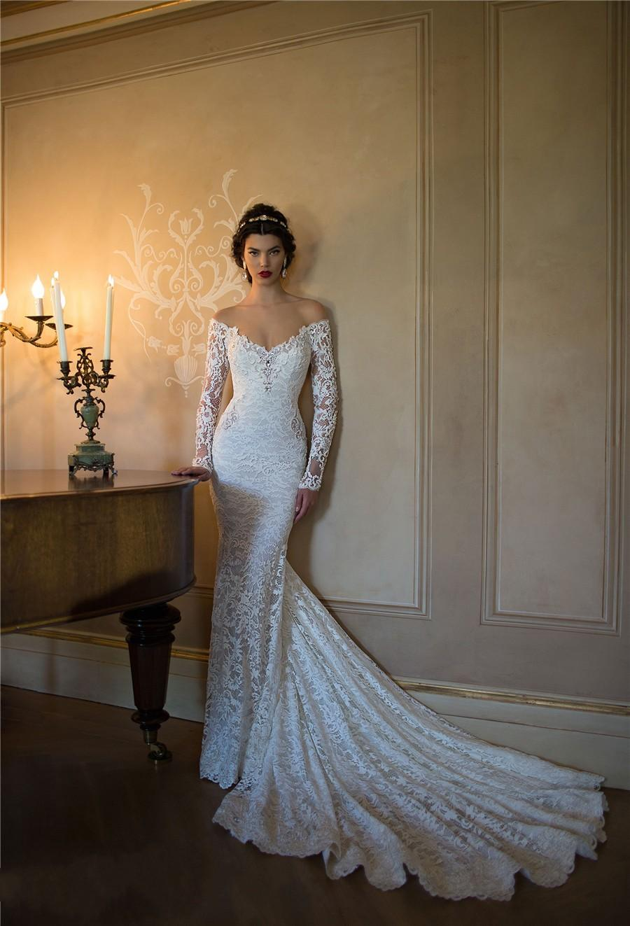 Берта Топ Кружева Свадебные платья с Illusion длинными рукавами 2015 Sexy Глубокий V-образным вырезом