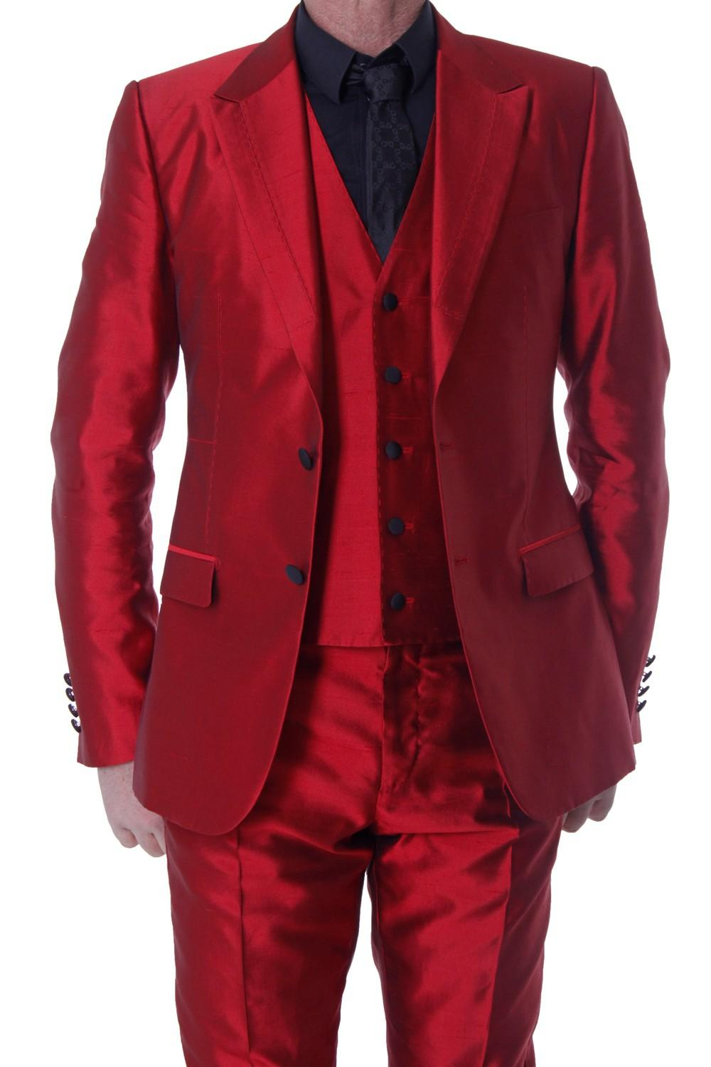 2015 Red Wedding Suits For Men Peaked Lapel Grooms Tuxedos Three ...